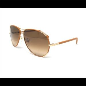 CHLOE LEATHER WRAPPED AVIATOR SUNGLASSES Pre-Owned